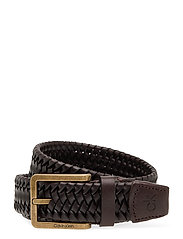 35MM BRAIDED FIXED LEATHER BELT - DARK BROWN