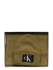 Calvin Klein - BEANIE + SCARF - chapeaux - olive night - 2