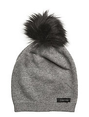 2 CLRS POM POM BEANI - MID GREY HEATHER B38 - VOL39