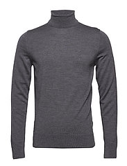 SUPERIOR WOOL TURTLE NECK - MID GREY HEATHER