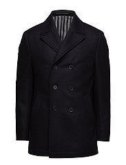 FELTED WOOL PEACOAT - PERFECT BLACK