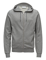 EMBROIDERY ZIP-THROUGH HOODIE - MID GREY HEATHER
