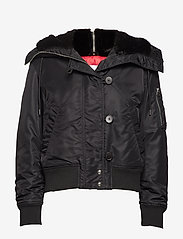 Calvin Klein - HOODED FAUX FUR JKT - padded jackets - black - 1