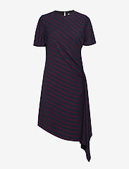 Calvin Klein - FLUID STP DRAPE DRES - robes midi - narrow stripe deep navy - 0