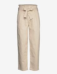 Calvin Klein - PAPER BAG DENIM PANT - bukser med brede ben - olinda ecru - 0