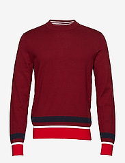 Calvin Klein - COLOR BLOCK COTTON W - knitted round necks - iron red - 0