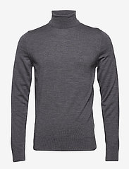 Calvin Klein - SUPERIOR WOOL TURTLE NECK - basic knitwear - mid grey heather - 0