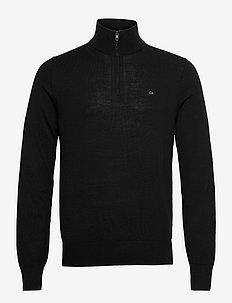 SUPERIOR WOOL ZIP-MOCK SWEATER - half zip - ck black