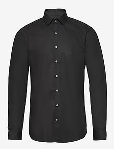 2PLY POPLIN STRETCH SLIM SHIRT - basic overhemden - df black