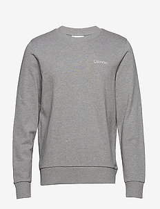 CHEST EMBROIDERY SWEATSHIRT - MID GREY HEATHER