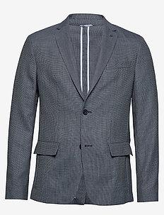 UNCONSTRUCTRED TEXTURED BLAZER - blazers à boutonnage simple - navy blazer