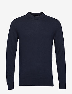 WOOL COTTON EMBROIDERY SWEATER - CALVIN NAVY