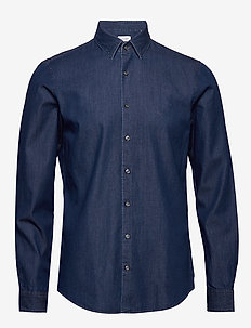 DENIM WASHED SLIM SHIRT - BLUE