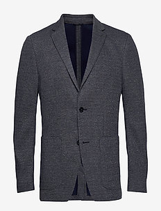 TWO TONE JERSEY PATCH PKT BLAZER - single breasted blazers - calvin navy