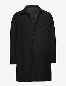 WADDED NYLON ZIP COAT - CALVIN BLACK