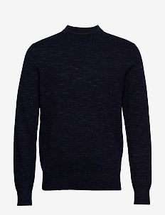 STRUCTURE SPACE DYE SWEATER - basic knitwear - calvin navy
