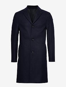 CASHMERE WOOL CROMBIE COAT - wool coats - calvin navy