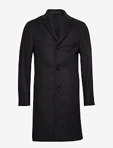 CASHMERE WOOL CROMBIE COAT - ullfrakker - mid grey heather