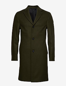 CASHMERE WOOL CROMBIE COAT - MILITARY OLIVE