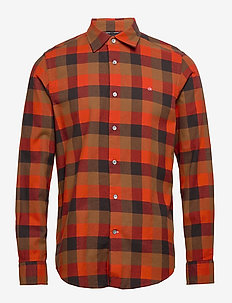 BRUSHED TWILL CHECK SHIRT - chemises à carreaux - block check - curried pumpkin