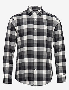 BRUSHED TWILL CHECK SHIRT - koszule w kratkę - block check - black / grey / e