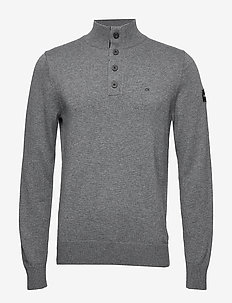 BUTTON HIGH NECK SWE - MID GREY HEATHER