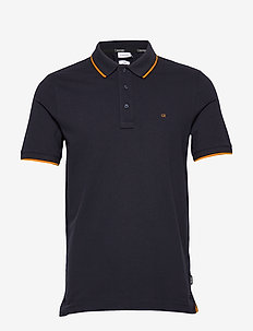 STRETCH TIPPING SLIM POLO - short-sleeved polos - calvin navy