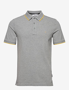 STRETCH TIPPING SLIM POLO - korte mouwen - mid grey heather