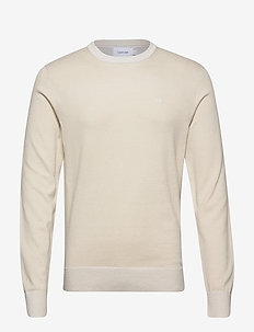 COTTON SILK C-NECK SWEATER - basic knitwear - bleached stone