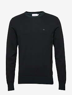 COTTON SILK C-NECK SWEATER - basic knitwear - calvin black