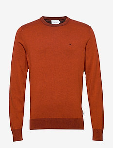 COTTON SILK C-NECK SWEATER - basic knitwear - curried pumpkin