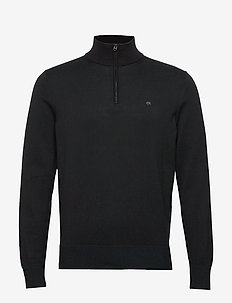 COTTON SILK 1/4 ZIP SWEATER - basic knitwear - calvin black