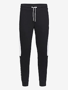 COTTON LOGO STRIPE SWEATPANT - jogginghosen - calvin black