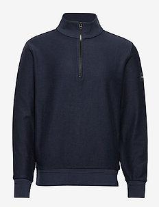 TONAL REVERSE HALF ZIP MOCK NECK - basic knitwear - calvin navy