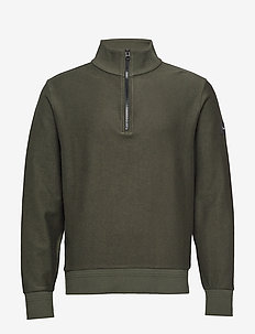 TONAL REVERSE HALF ZIP MOCK NECK - basic knitwear - dark olive