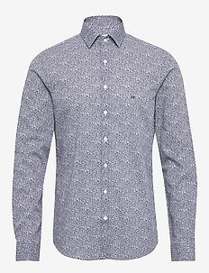 PRINTED EASY IRON SL - business shirts - navy