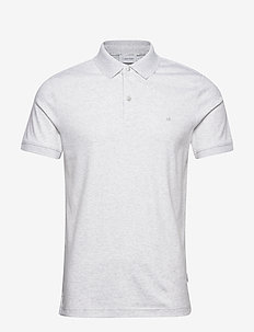 SOFT INTERLOCK SLIM POLO - short-sleeved polos - ecru heather