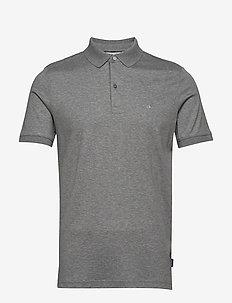 SOFT INTERLOCK SLIM POLO - short-sleeved polos - mid grey heather