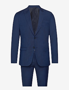 WOOL COTTON TROPICAL SLIM SUIT - regal navy