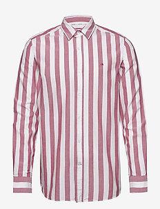 COTTON OXFORD STRIPE - oxford overhemden - bold stripe - white / anthem r