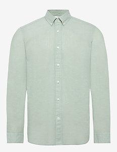 BUTTON DOWN COTTON LINEN SHIRT - basic shirts - granite green