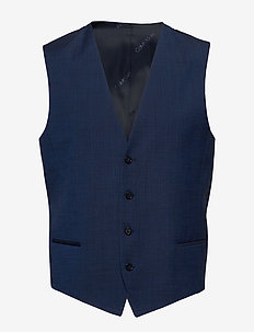 WOOL COTTON TROPICAL WAISTCOAT - westen - regal navy