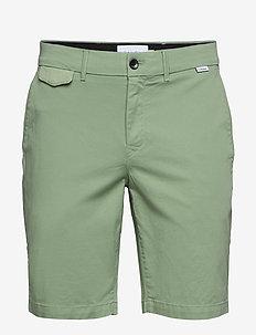 SLIM FIT GARMENT DYE - tailored shorts - granite green