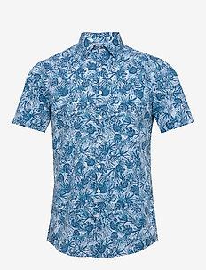 PALM PRINT S/S SLIM - chemises à manches courtes - blue