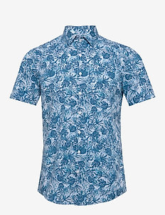 PALM PRINT S/S SLIM - short-sleeved shirts - blue