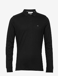 LIQUID TOUCH LONG SLEEVE POLO - long-sleeved polos - ck black