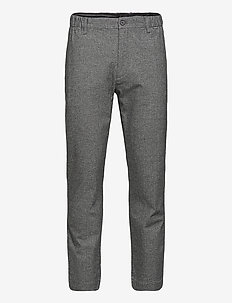 TAPERED ELASTIC TEXTURE PANT - suit trousers - dobby texture - black/white