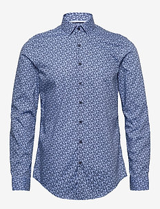 FLOWER PRINT SLIM SHIRT - business shirts - blue