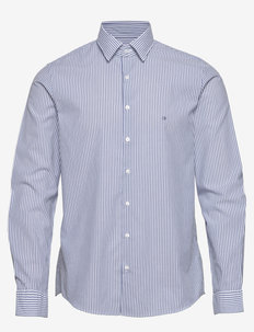 WASHED STRIPE SLIM SHIRT - business shirts - blue