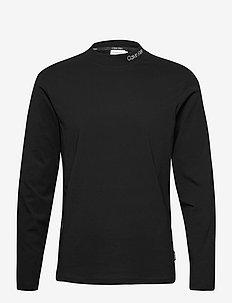 LOGO MOCK NECK LONG SLEEVE TEE - basic t-shirts - ck black